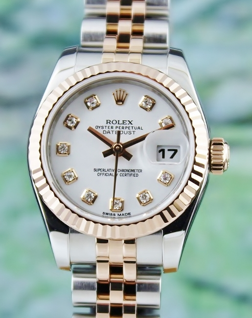 ROLEX LADY SIZE 18K ROSE GOLD OYSTER PERPETUAL DATEJUST- 179171