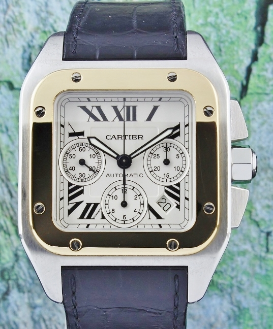 A Cartier Santos 100 XL Steel And Gold Chronograph / 2740