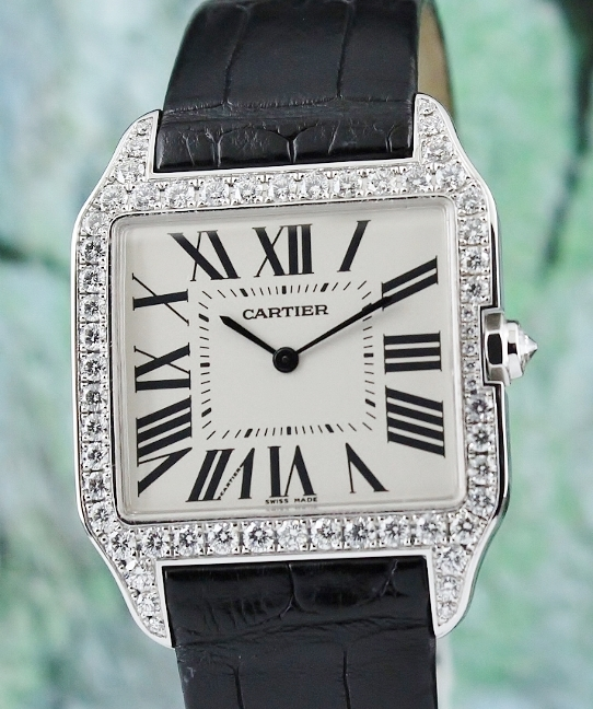 A Cartier Santos Dumont 18K White Gold Manual Winding Watch /
