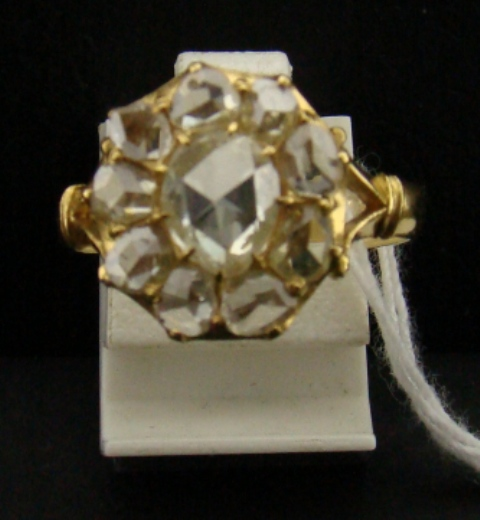 Antique 20k Rose Cut Diamond Ring