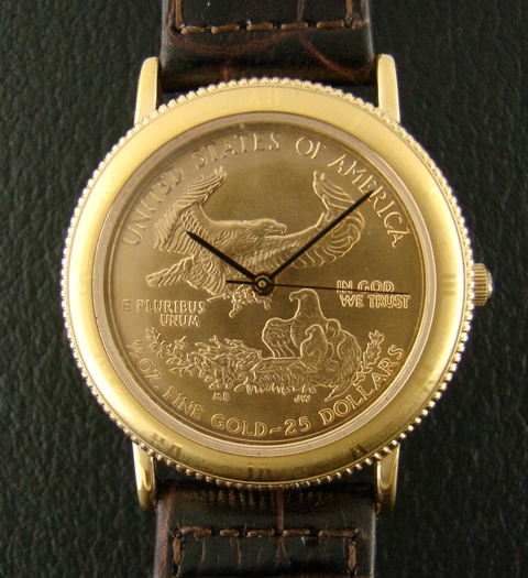Gold Crest Watch With Pure Gold Dial