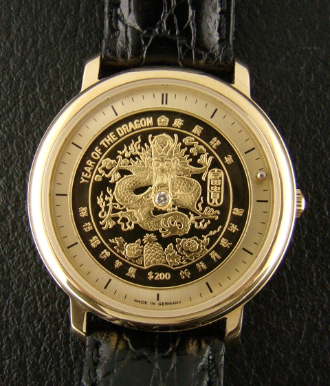 Gold Crest Watch With Pure Gold Dial - Dragon
