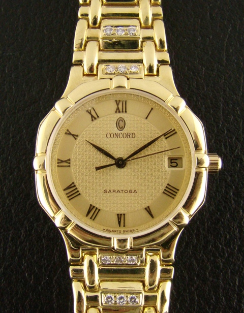CONCORD SARATOGA MEN'S SOLID 18K GOLD DIAMOND WATCH