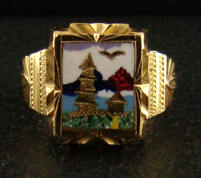 Antique 20K Gold Enamel Ring