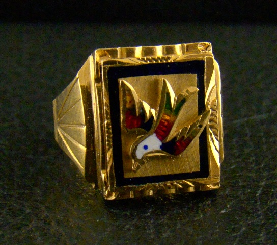 ANTIQUE 20K YELLOW GOLD ENAMEL RING