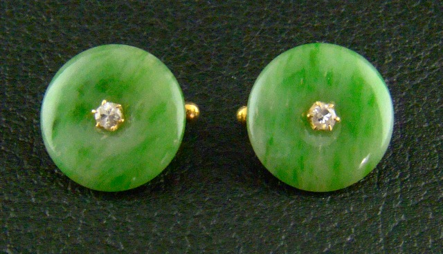 ANTIQUE 20K YELLOW GOLD JADE DIAMOND EARSTUD