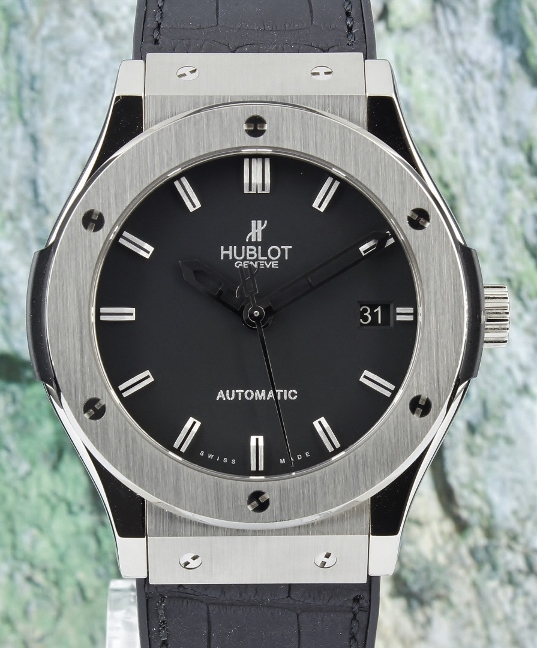 LIKE NEW UNPOLISHED HUBLOT 45MM CLASSIC FUSION AUTOMATIC WATCH / 511.NX.1170.LR