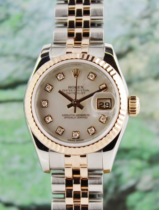 A ROLEX LADY SIZE PINK GOLD OYSTER PERPETUAL DATEJUST- 179171