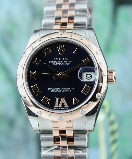 99% NEW ROLEX MID SIZE 18K ROSE GOLD STEEL OYSTER PERPETUAL DATEJUST / 178341