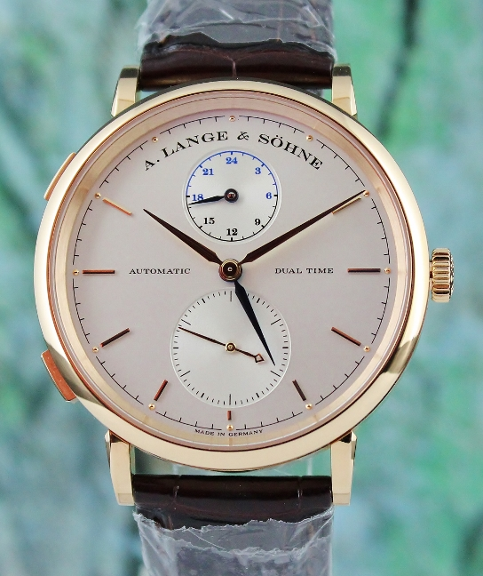Like New A.Lange & Sohne Saxonia Dual Time In 18K Rose Gold / 385.032