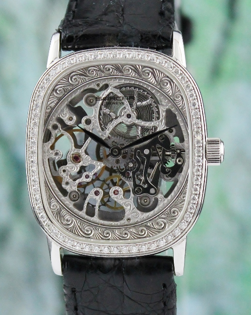 SARCAR 18K WHITE GOLD SKELETON MANUAL WINDING DIAMOND WATCH