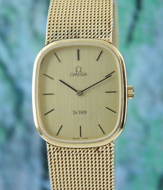 "AN OMEGA MANUAL WINDING 18K ""GOLD FILLED"" WATCH"