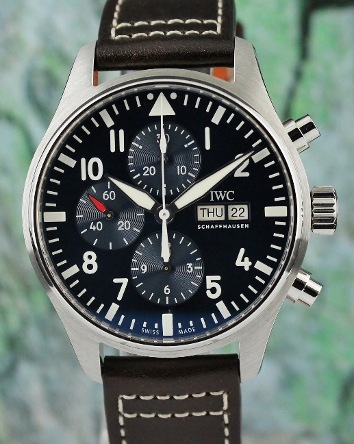 LIKE NEW UNPOLISHED IWC Stainless Steel Pilot's Automatic Chronograph Watch/ IW377714