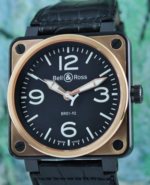 Bell & Ross Aviation Heritage Rose Gold & Carbon 46mm / BR01-92