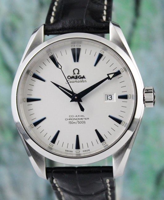 AN OMEGA STAINLESS STEEL AQUA TERRA CO-AXIAL AUTOMATIC WATCH