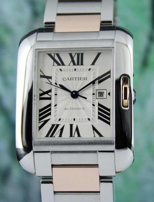 Cartier Tank Angalise Xl 18K Rose Gold & Stainless Steel Automatic Watch / W5310006