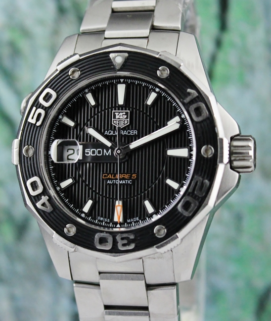 A TAG HEUER STAINLESS STEEL AQUARACER CALIBRE 5 500M / WAJ2110