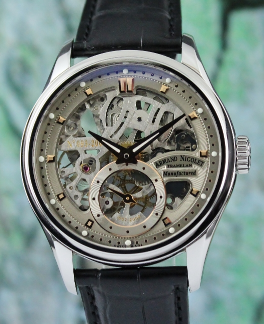 Armand Nicolet Limited Edition Skeleton Manual Winding Watch / 9620S-GL-P713GR2