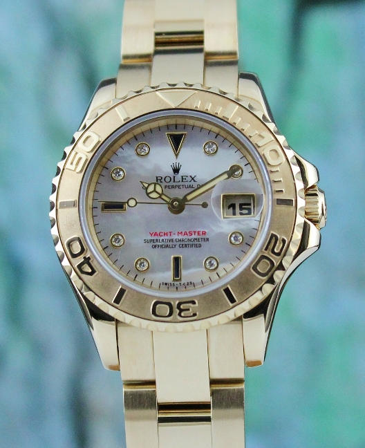 ROLEX LADY SIZE 18K YELLOW GOLD OYSTER PERPETUAL YACHT-MASTER / 69628
