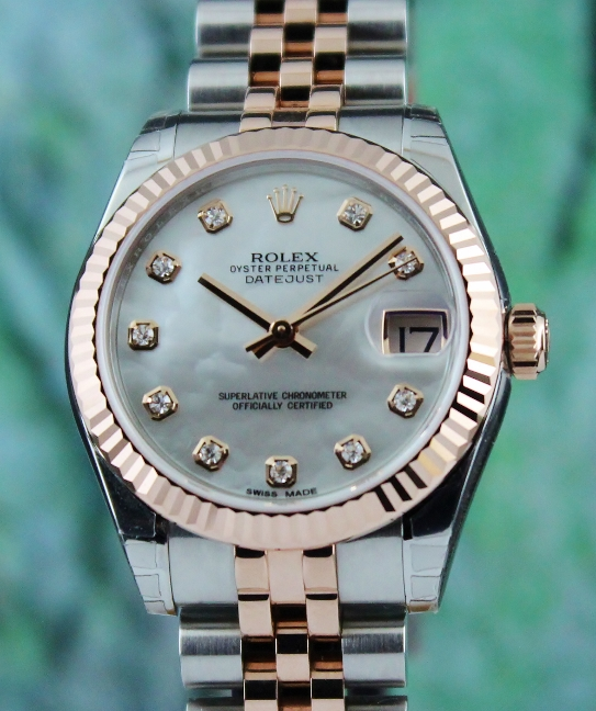 "UNWORN ROLEX MID SIZE 18K ""ROSE GOLD"" OYSTER PERPETUAL DATEJUST / 178271"