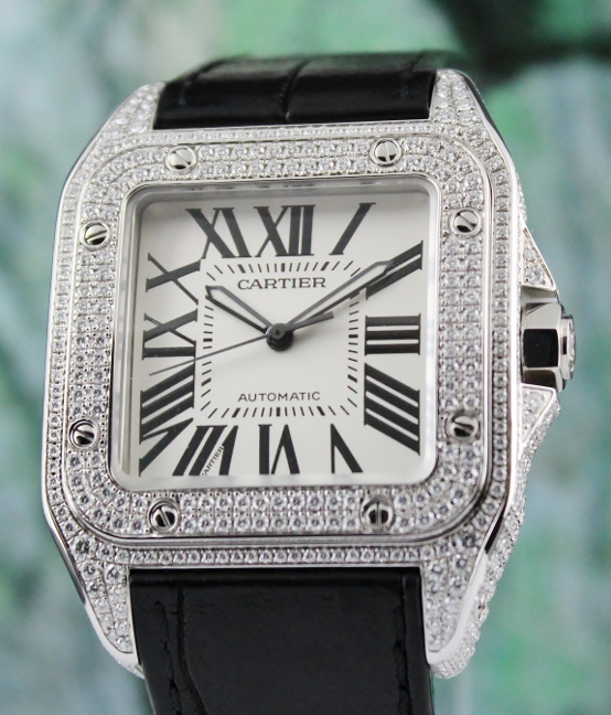 Cartier Santos 100XL Full Diamond Stainless Steel Automatic Watch / 2656