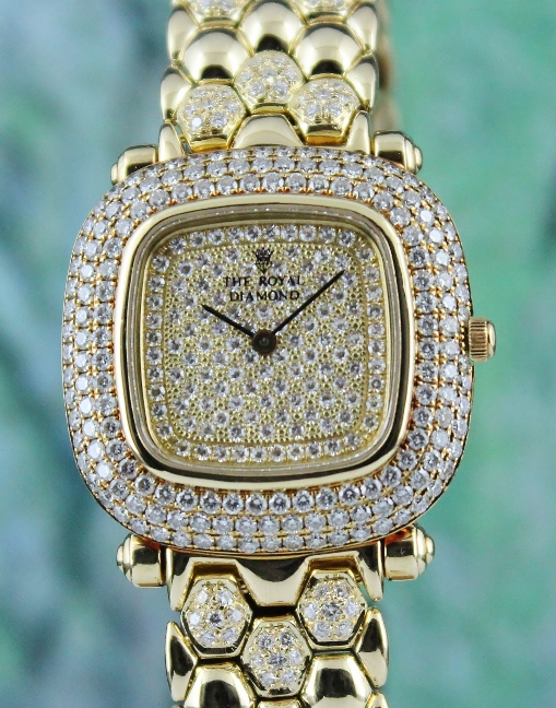 "18K YELLOW GOLD ""THE ROYAL DIAMOND"" WATCH / BA63"