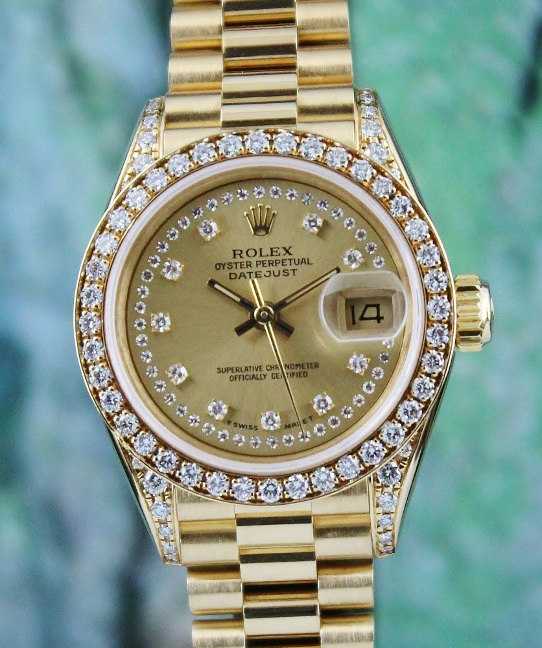 LIKE NEW ROLEX LADY 18K YELLOW GOLD OYSTER PERPETUAL DATEJUST - 100% ORIGINAL / 69158