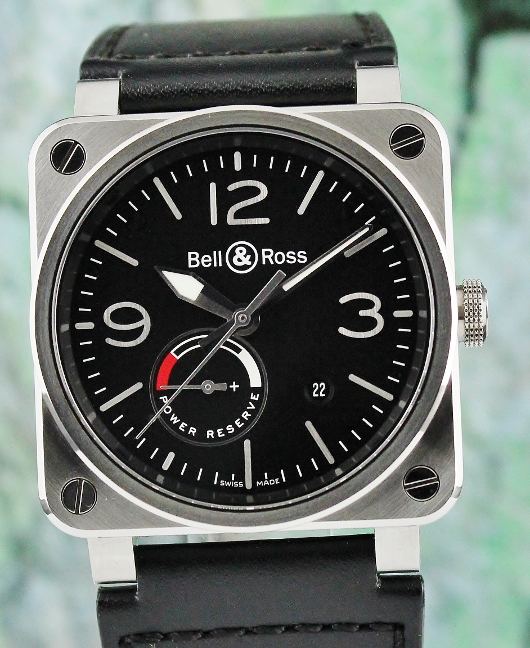 LIKE NEW UNPOLISHED BELL & ROSS AVIATION RESERVE DE MARCHE AUTOMATIC WATCH / BR03-97