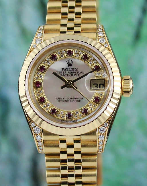 100% ORIGINAL ROLEX LADY SIZE 18K YELLOW GOLD OYSTER PERPETUAL DATEJUST / 79238