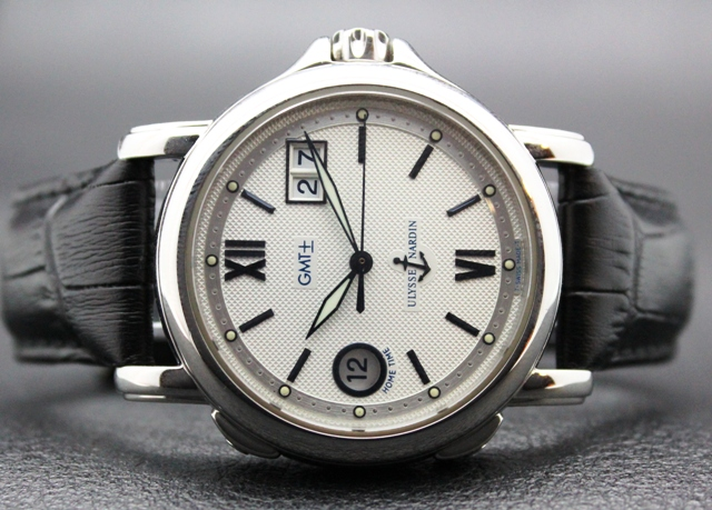 'ULYSSE NARDIN' STAINLESS STEEL 'SAN-MARCO' 2 TIME ZONE