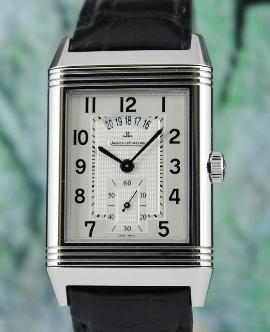 JAEGER-LECOULTRE DUAL TIME JUMBO SIZE REVERSO MANUAL WINDING WATCH / 273.8.85