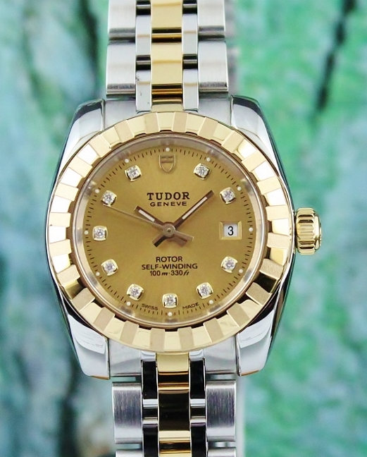 LIKE NEW TUDOR 18K YELLOW GOLD AND STAINLESS STEEL AUTOMATIC WATCH