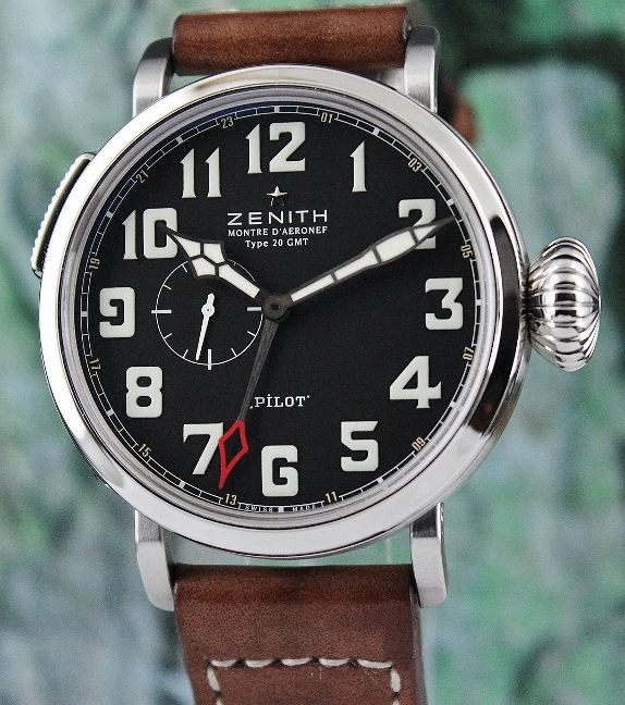 Zenith Pilot Montre D'Aeronef Type 20 GMT Automatic Watch / 03.2430.693/21.C723