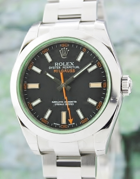 Rolex Milgauss GREEN GLASS Black Dial / 116400 GV