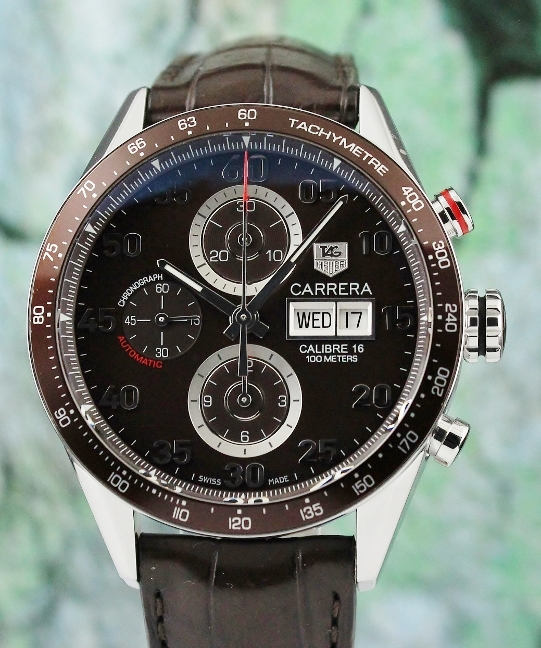 TAG HEUER STAINLESS STEEL CHRONOGRAPH CALIBRE 16 DAY-DATE CARRERA / CV2A12