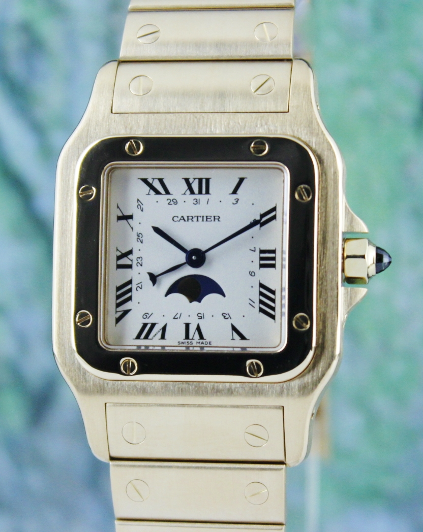 Cartier 18K Yellow Gold Moon Phase Santos Galbee Watch