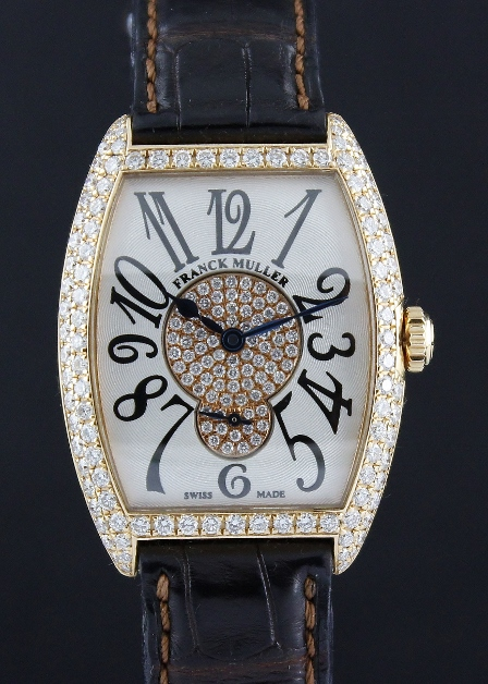 A 100% ORIGINAL FRANCK MULLER MANUAL WINDING 18K PINK GOLD DIAMOND WATCH / 7500 S6 D 2P