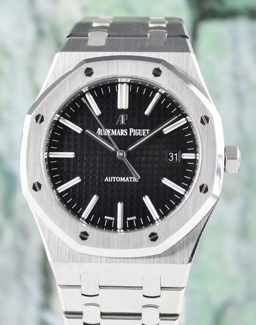 Unpolished Audemars Piguet AP Royal Oak Black Dial / 15400ST