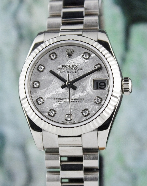 ROLEX MID SIZE 18K WHITE GOLD OYSTER PERPETUAL DATEJUST - 178279