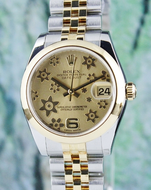 A ROLEX MID SIZE 18K YELLOW AND STEEL OYSTER PERPETUAL DATEJUST / 178243