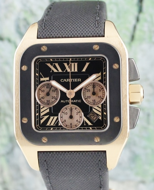 Cartier Santos 100 Carbon XL 18K Solid Rose Gold / W202003