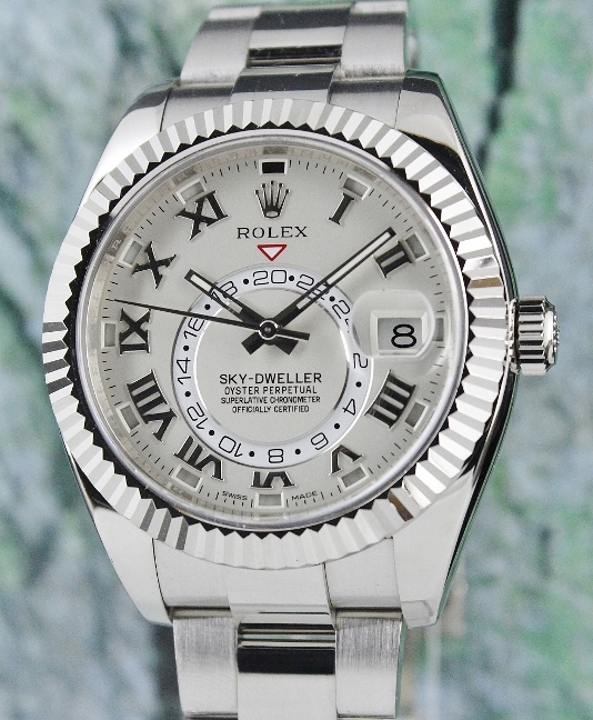 A ROLEX 18K SOLID WHITE GOLD SKY DWELLER / 326939