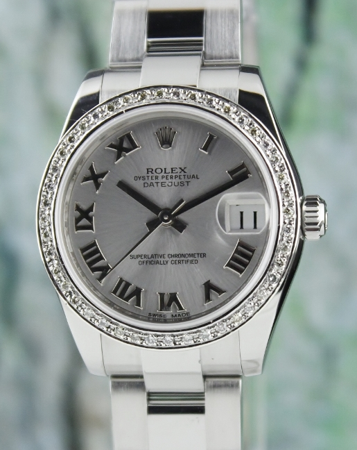 A ROLEX MID SIZE STAINLESS STEEL OYSTER PERPETUAL DATEJUST / 178240