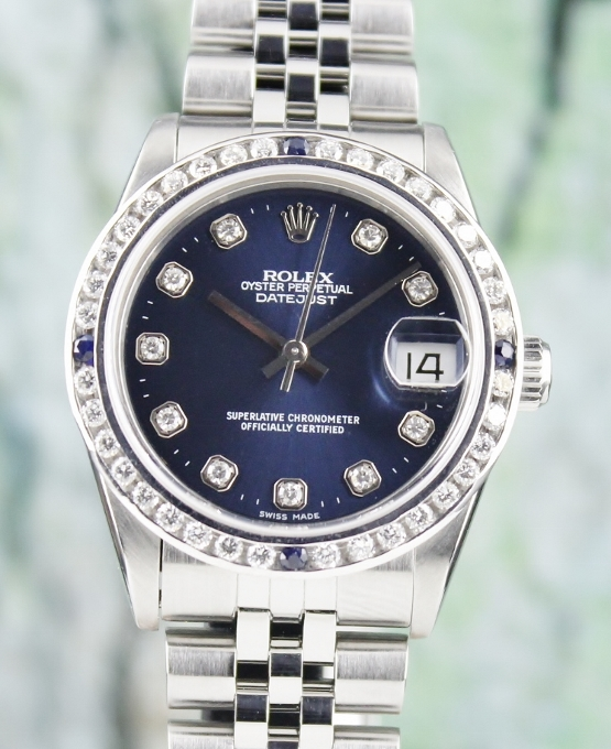 A ROLEX MID SIZE STAINLESS STEEL OYSTER PERPETUAL DATEJUST / 68274