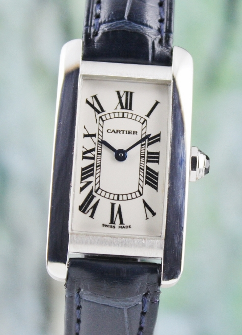 CARTIER TANK AMERICAINE LADY SIZE18K WHITE GOLD WATCH / 1713