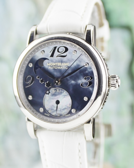 A MONTBLANC STAR LADY SIZE AUTOMATIC MOON PHASE AUTOMATIC WATCH
