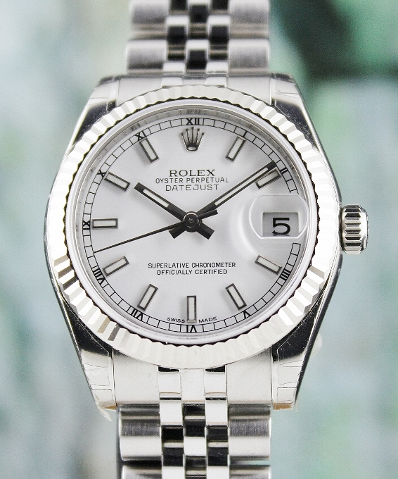 LIKE NEW UNPOLISHED ROLEX MID SIZE OYSTER PERPETUAL DATEJUST - 178274