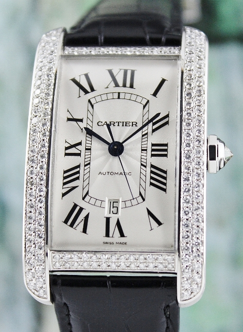 LIKE NEW CARTIER TANK AMERICAINE XL 18K WHITE GOLD WATCH / 2928