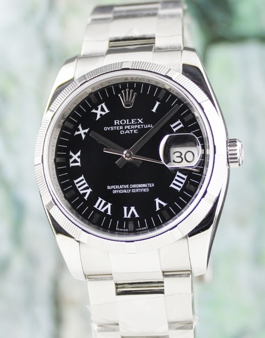 ROLEX MEN SIZE STAINLESS STEEL OYSTER PERPETUAL DATEJUST / 115210