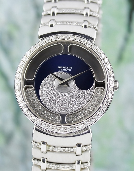 100% ORIGINAL SARCAR 18K WHITE GOLD MAGIC MOON QUARTZ WATCH